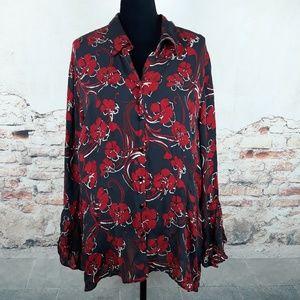 Lane Bryant Venezia 26/28W Black Red Silk Blouse